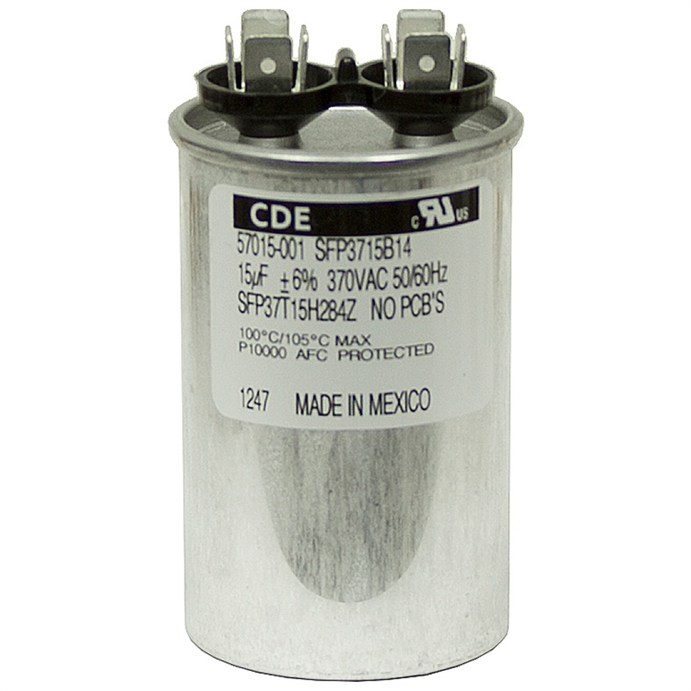 15 mfd 370 vac run capacitor cde sft37t15h284z f motor for Capacitors for electric motors
