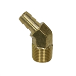 3/8 Hosebarb x 3/8 NPT Male 45 Degree Brass Elbow