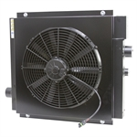 80 GPM AKG DCS30-12-BP65 Oil Cooler w/12 Volt DC Fan and Internal Bypass