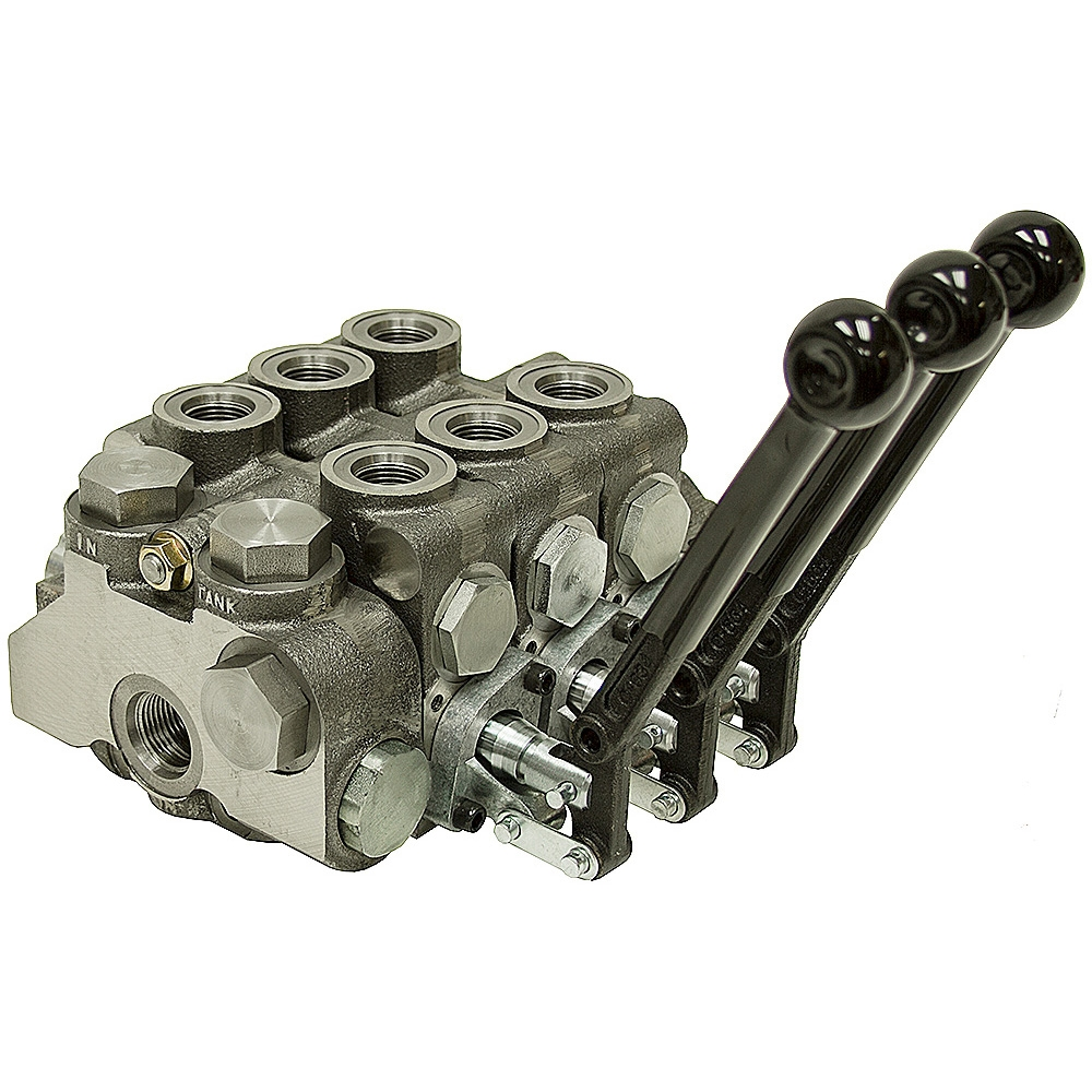 3 spool 20 series prince stack valve closed center stack for Hydraulic motor spool valve