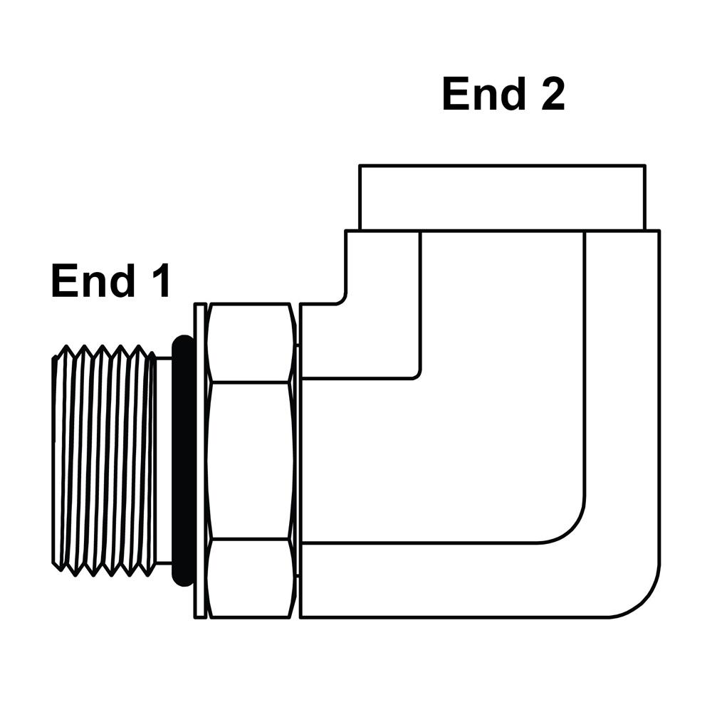6806-08-06 Hydraulic Adapter 1//2 Male BOSS Swivel X 3//8 Male Pipe 90 Degree Carbon Steel