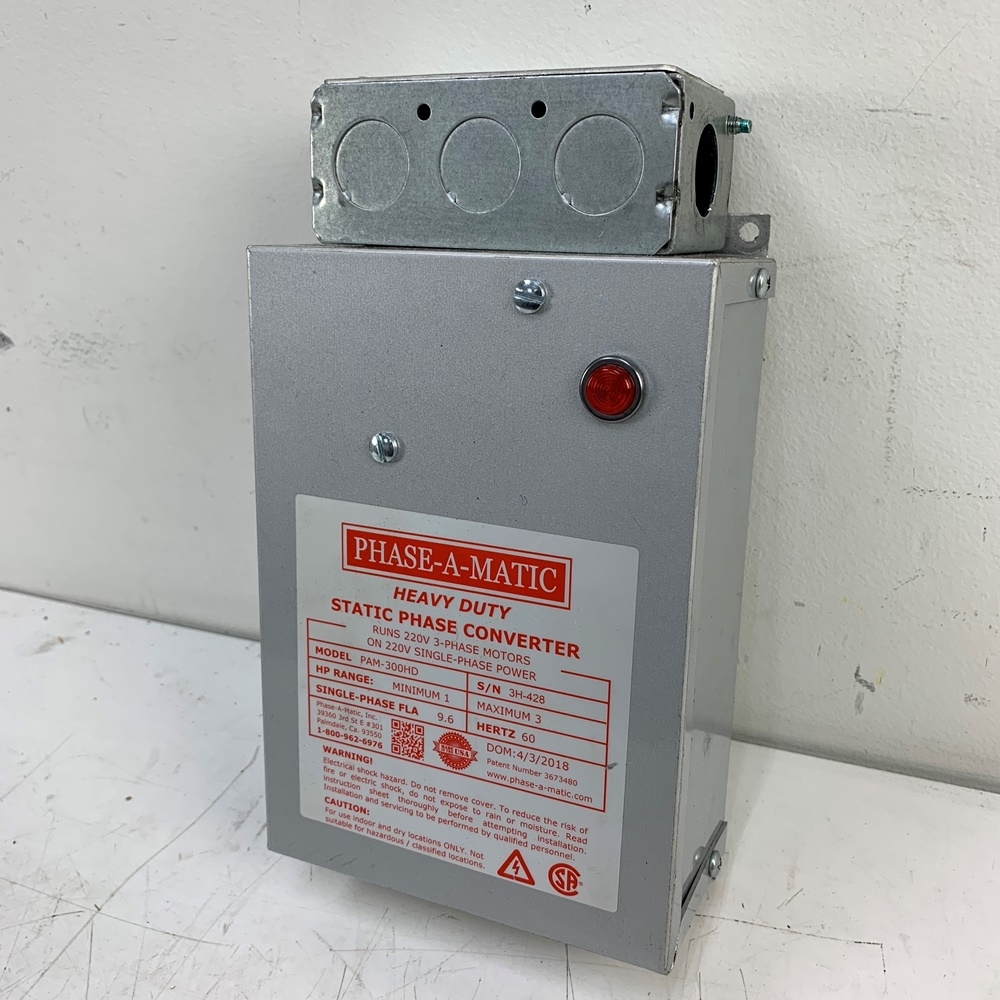 NEW PHASE A MATIC PAM-300HD STATIC PHASE CONVERTER 1-3 HP
